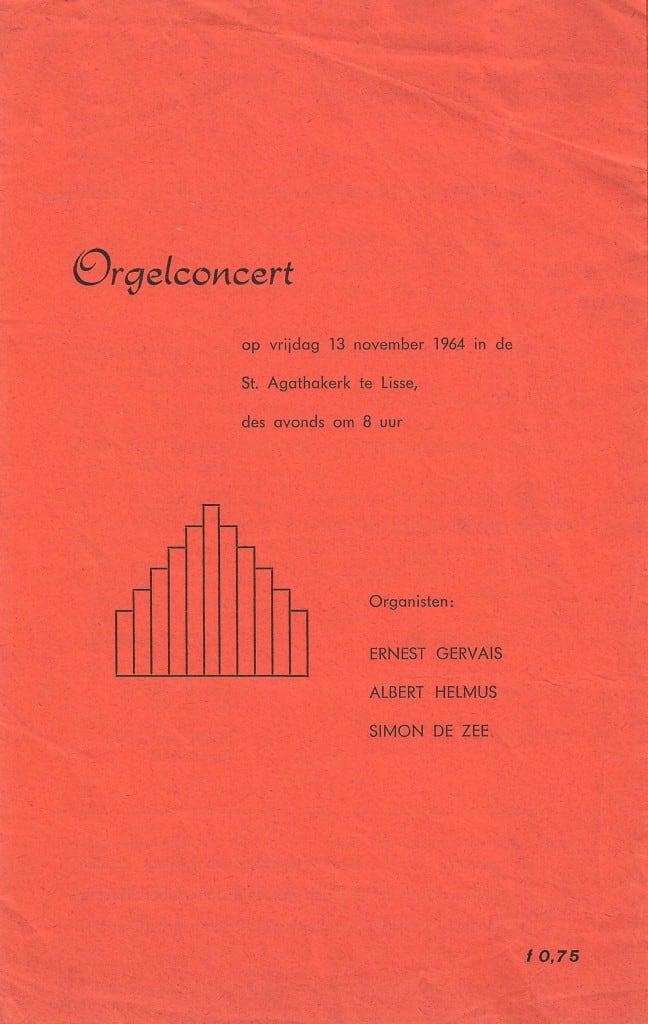 Programma concert 13 november 1964